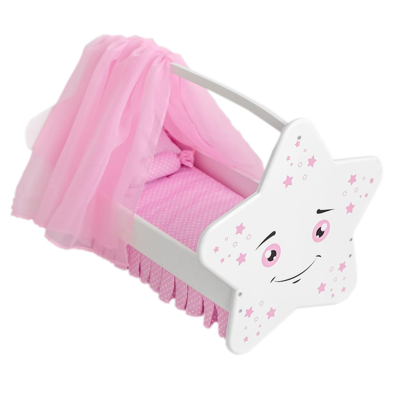 Купить Колыбель для кукол Звездочка с постельным бельем и балдахином, цвет: белый, Paremo