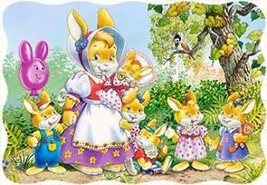 Пазл Castorland 30 деталей Семья кроликовПазлы<br>Пазл Castorland 30 деталей Семья кроликов<br>