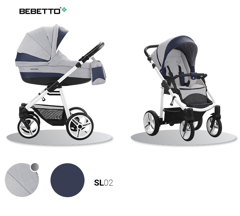 Детская коляска Bebetto Vulcano New Ecco 2 в 1, серая с синим, шасси белая/BIAДетские коляски 2 в 1<br>Детская коляска Bebetto Vulcano New Ecco 2 в 1, серая с синим, шасси белая/BIA<br>