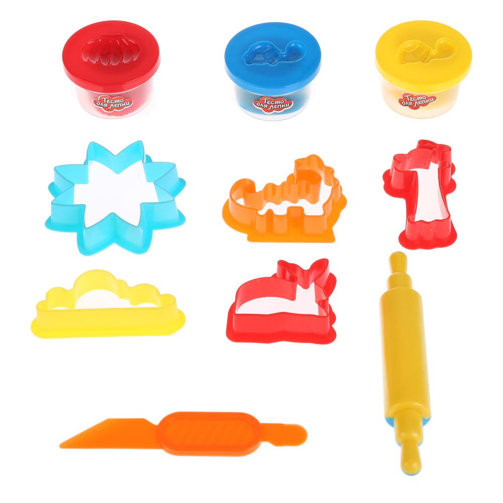 Купить Набор теста для лепки, 3 цвета теста, скалка, нож, 5 формочек, Multiart