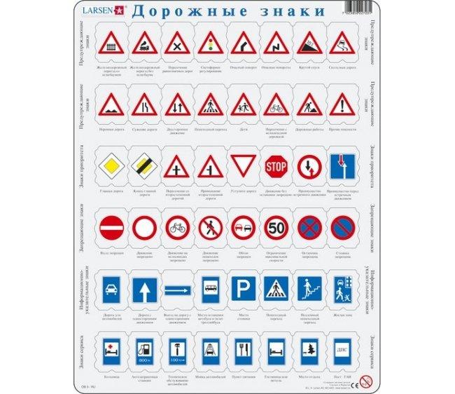 Обучающий пазл - Дорожные знаки, русский, 48 деталей
