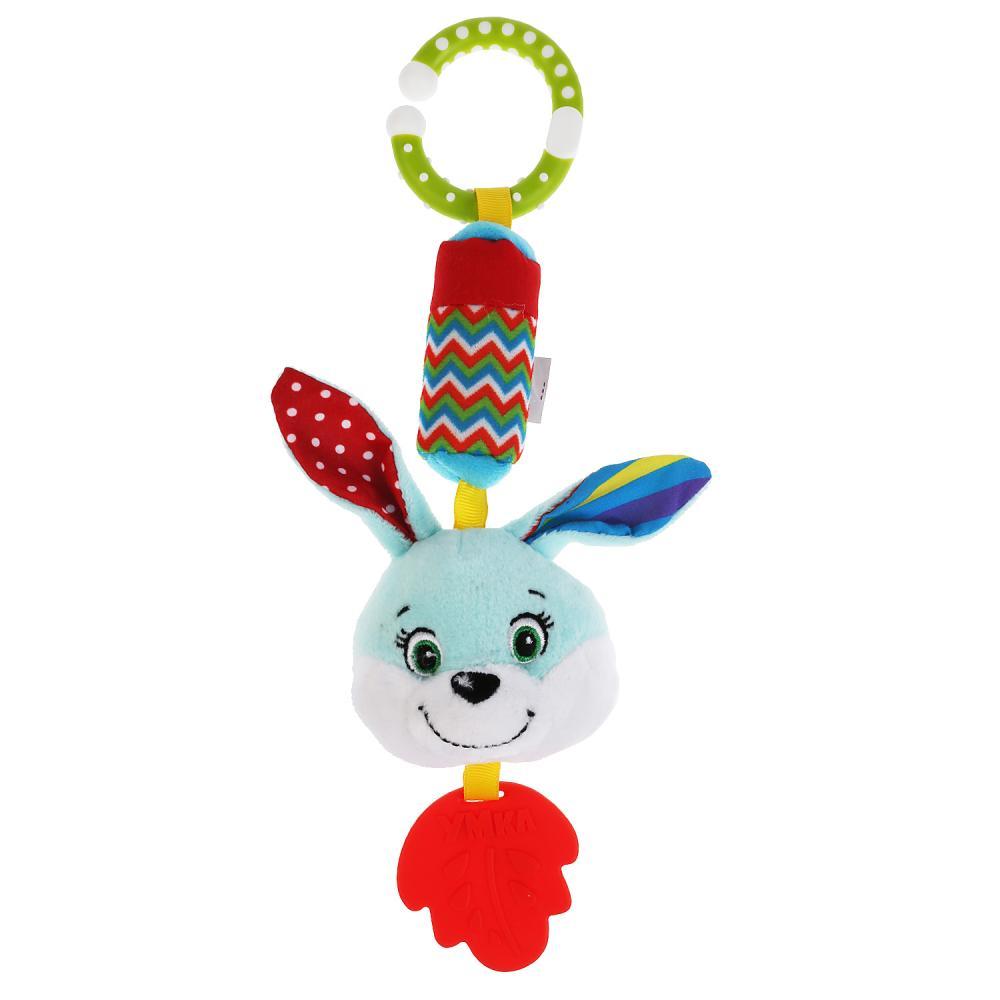 Текстильная игрушка подвеска-пищалка с колокольчиком - Зайка фото