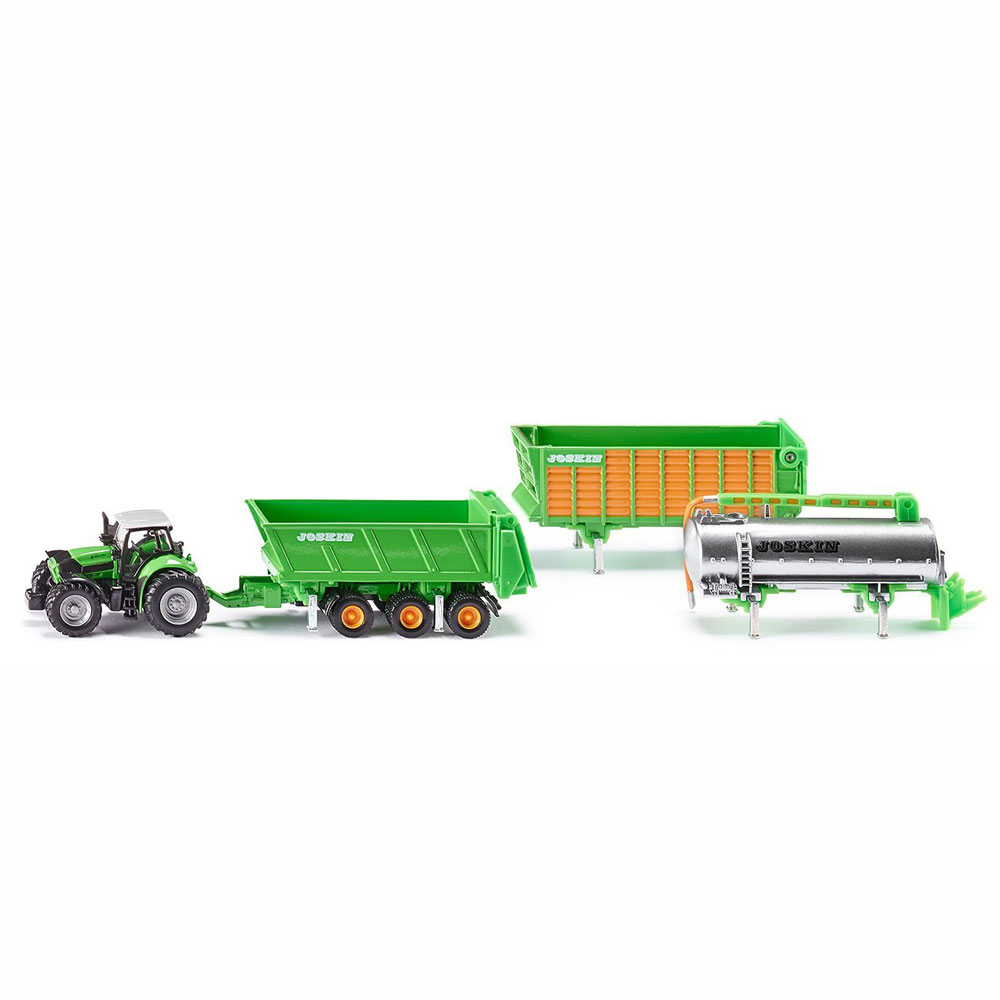 Трактор Дотц Фар с набором из 3 прицепов, 1:87Игрушечные тракторы<br>Трактор Дотц Фар с набором из 3 прицепов, 1:87<br>