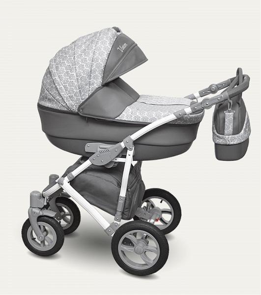 Детская коляска Camarelo Vision 2 в 1, серая с цветами