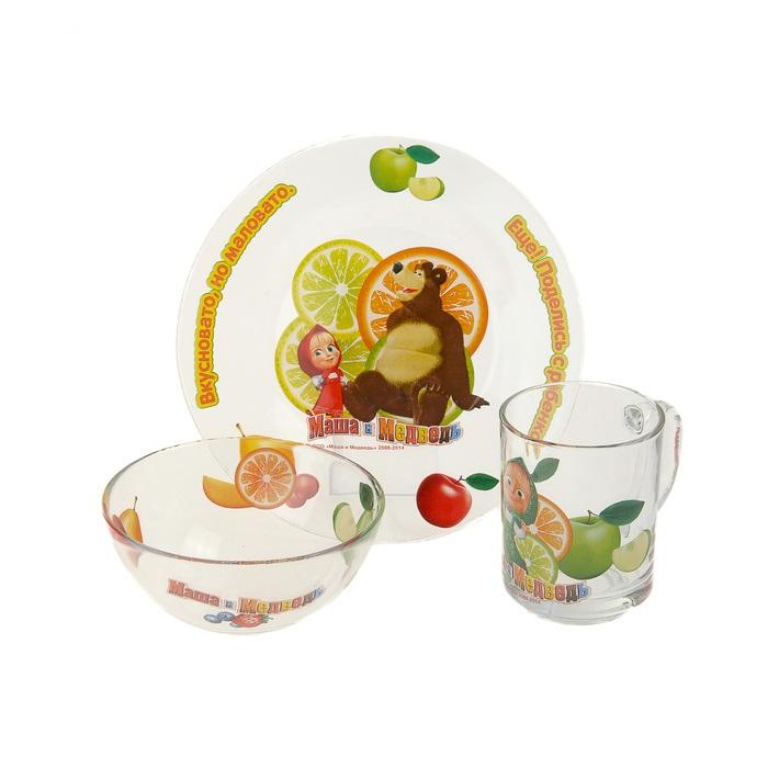 Набор посуды Маша и Медведь «Цитрусовый»Товары для кормления<br>Набор посуды Маша и Медведь «Цитрусовый»<br>