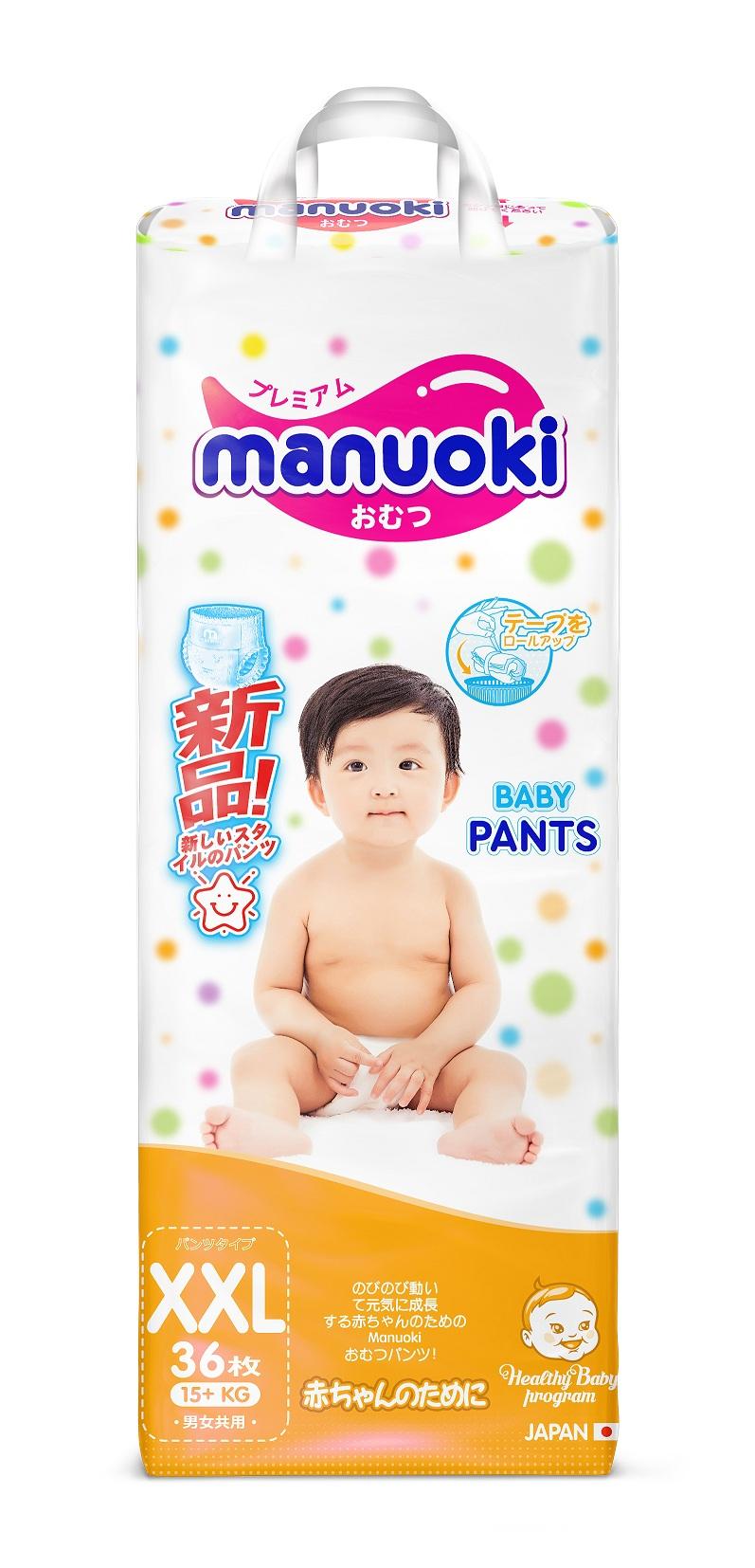 Купить Трусики-подгузники Manuoki, размер XXL 15+ кг, 36 штук