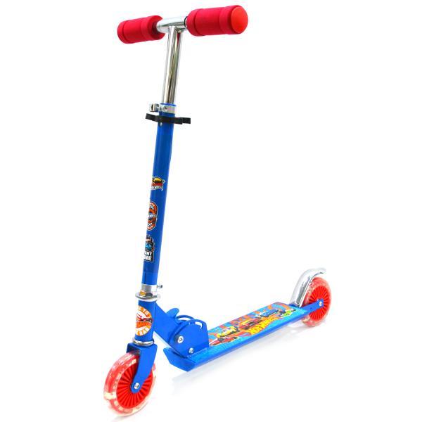 Купить Самокат 2-х колесный складной – Hot Wheels, сине-красный, со светящимися колесами