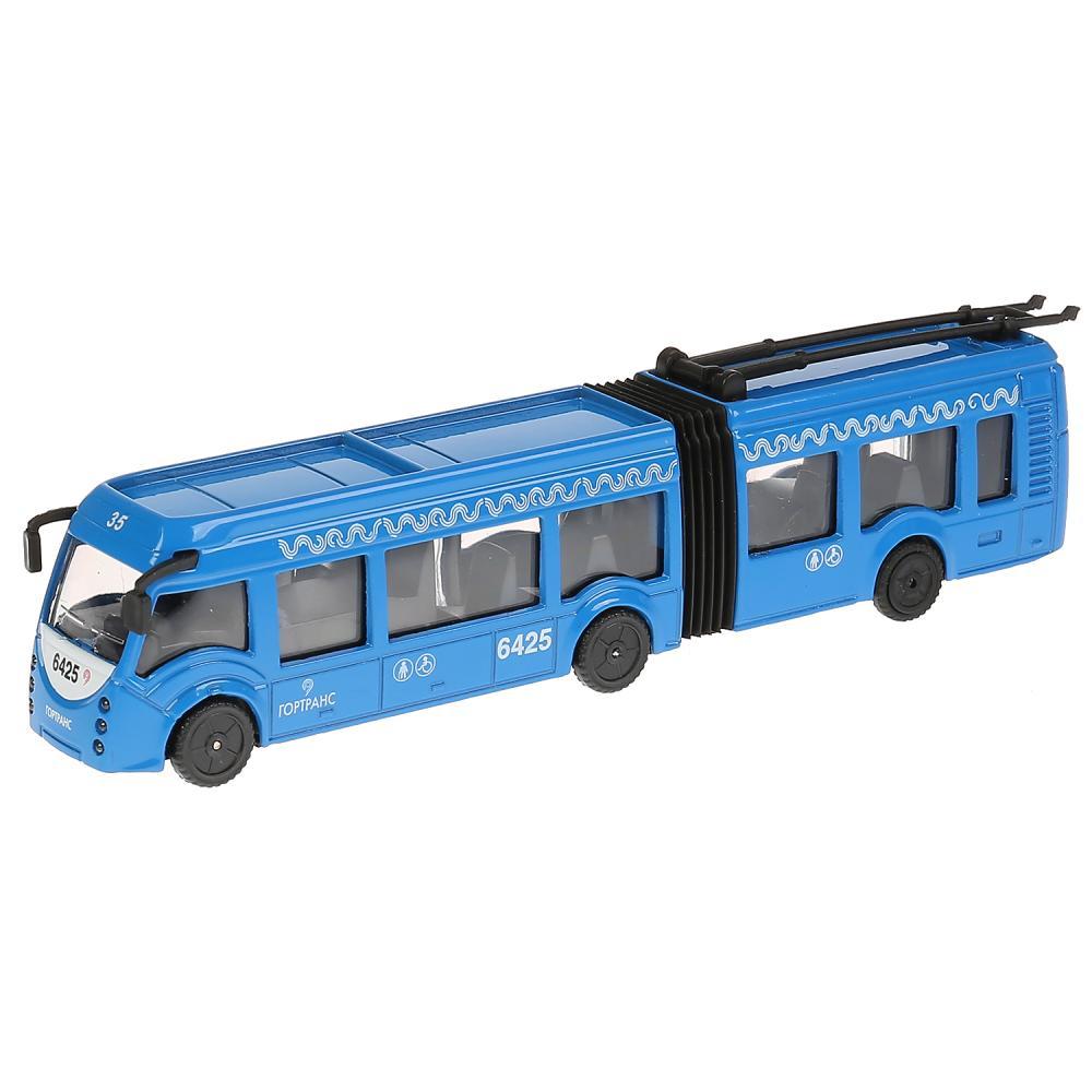 Купить Троллейбус металлический новый с резинкой, длина 19 см., свет и звук, инерционный, Технопарк