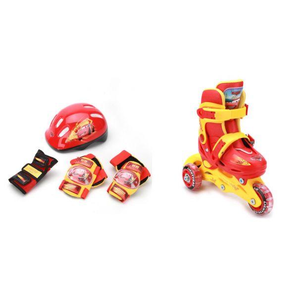 Набор из раздвижных роликов с пластиковой рамой, размер 28-31 и комплекта защиты с шлемом, дизайн Тачки PSETsim)Роликовые коньки детские<br>Набор из раздвижных роликов с пластиковой рамой, размер 28-31 и комплекта защиты с шлемом, дизайн Тачки PSETsim)<br>