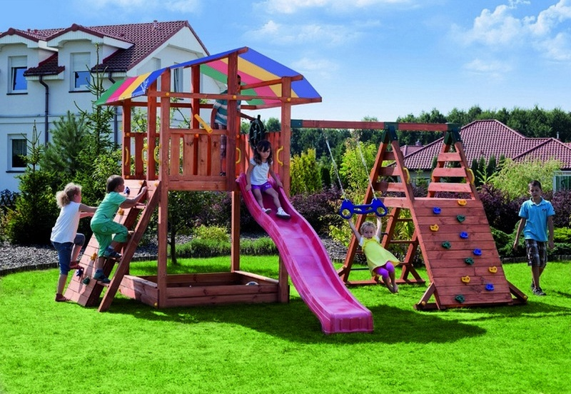 Купить Набор для игровой площадки - Детский домик с песочницей, тентом, горкой и сдвоенными кольцами, Paremo