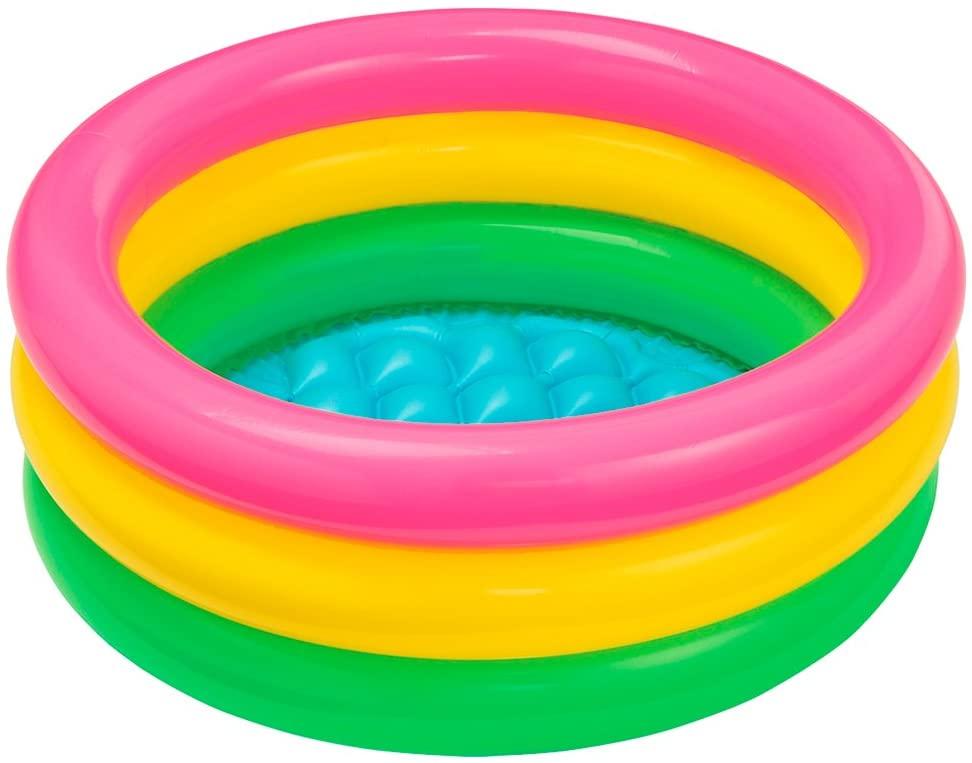 Купить Бассейн детский – Радуга, 3 кольца с надувным полом, Intex