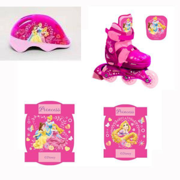Набор роликов с пластиковой рамой, размер 28-31 и комплекта защиты с шлемом, дизайн Принцессы PSETsim) - Роликовые коньки детские, артикул: 156842