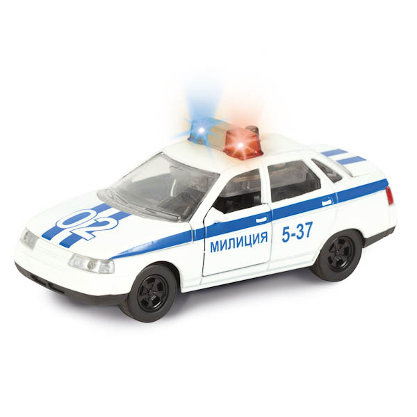 Купить Инерционная металлическая машина Lada 2110 Милиция/Полиция свет, звук 1:43, Технопарк