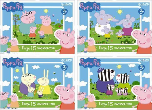 Мини-пазл - Peppa Pig, 15 элементовПазлы для малышей<br>Мини-пазл - Peppa Pig, 15 элементов<br>
