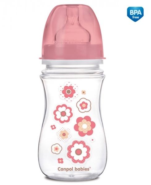 Купить Бутылочка PP EasyStart с широким горлышком антиколиковая, 240 мл, 3+ Newborn baby, розовый, Canpol