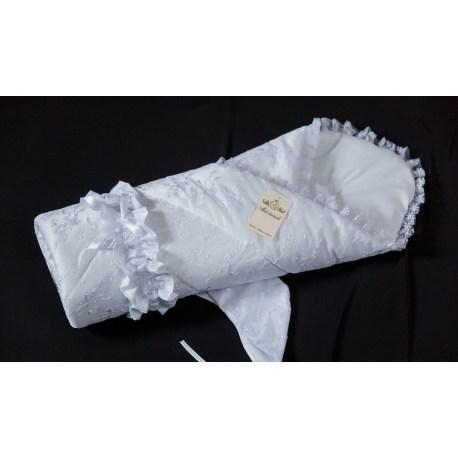 Конверт - одеяло на выписку из серии Золотце, сезон – лето, цвет – белыйКомплекты на выписку<br>Конверт - одеяло на выписку из серии Золотце, сезон – лето, цвет – белый<br>