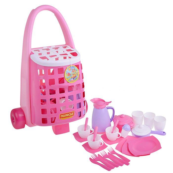 Забавная тележка с набором детской посуды, 31 элементДетская игрушка Касса. Магазин. Супермаркет<br>Забавная тележка с набором детской посуды, 31 элемент<br>