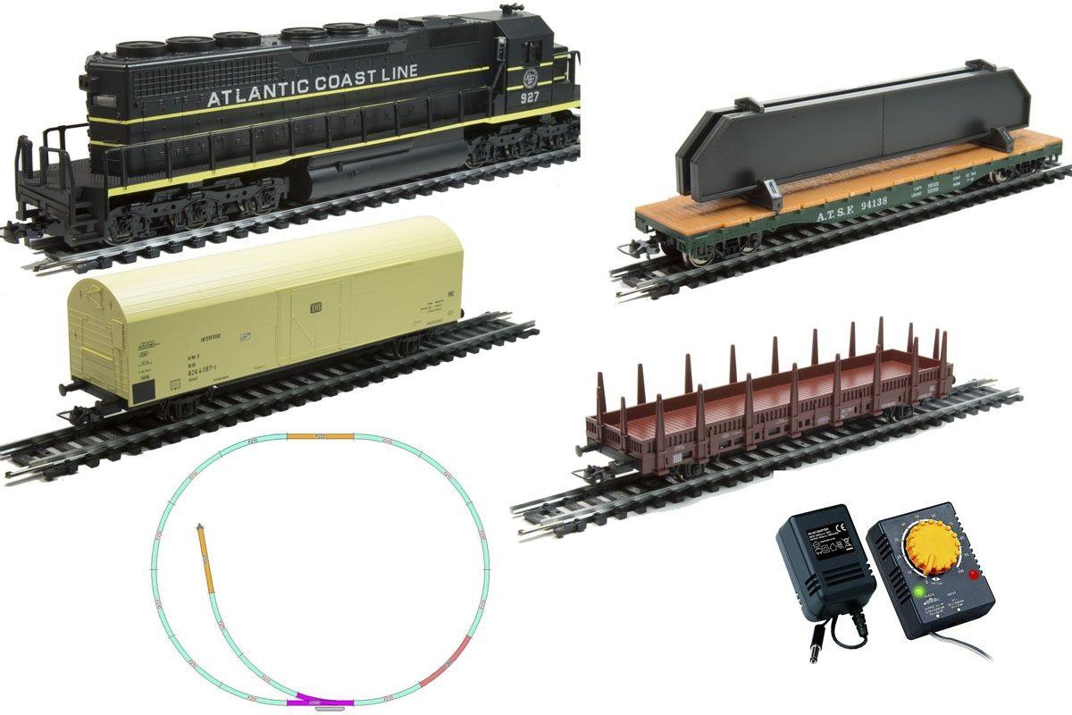 Стартовый набор Mehano Hobby - Тепловоз Atlantic с 3-мя вагонамиДетская железная дорога<br>Стартовый набор Mehano Hobby - Тепловоз Atlantic с 3-мя вагонами<br>