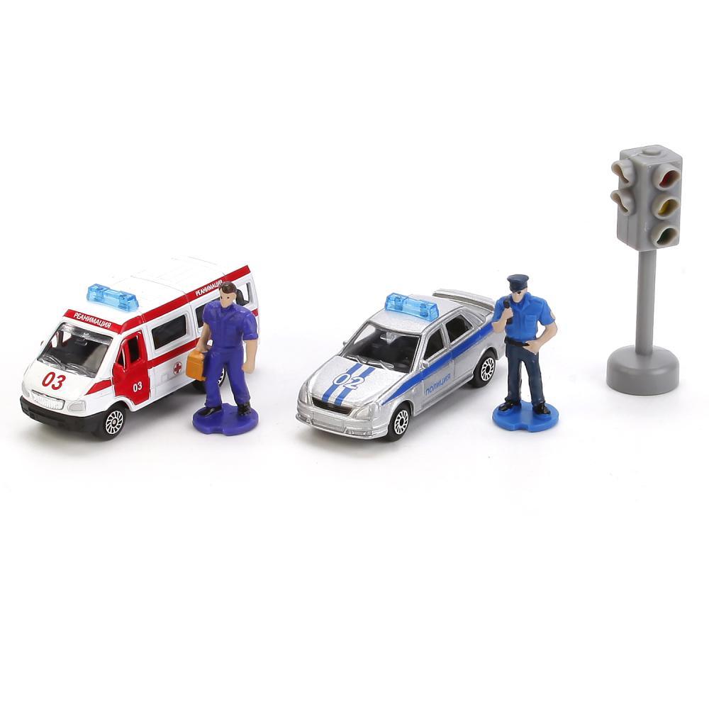 Купить Набор из 2-х металлических машин – Спецслужбы, 7, 5 см, с фигурками и аксессуарами, Технопарк
