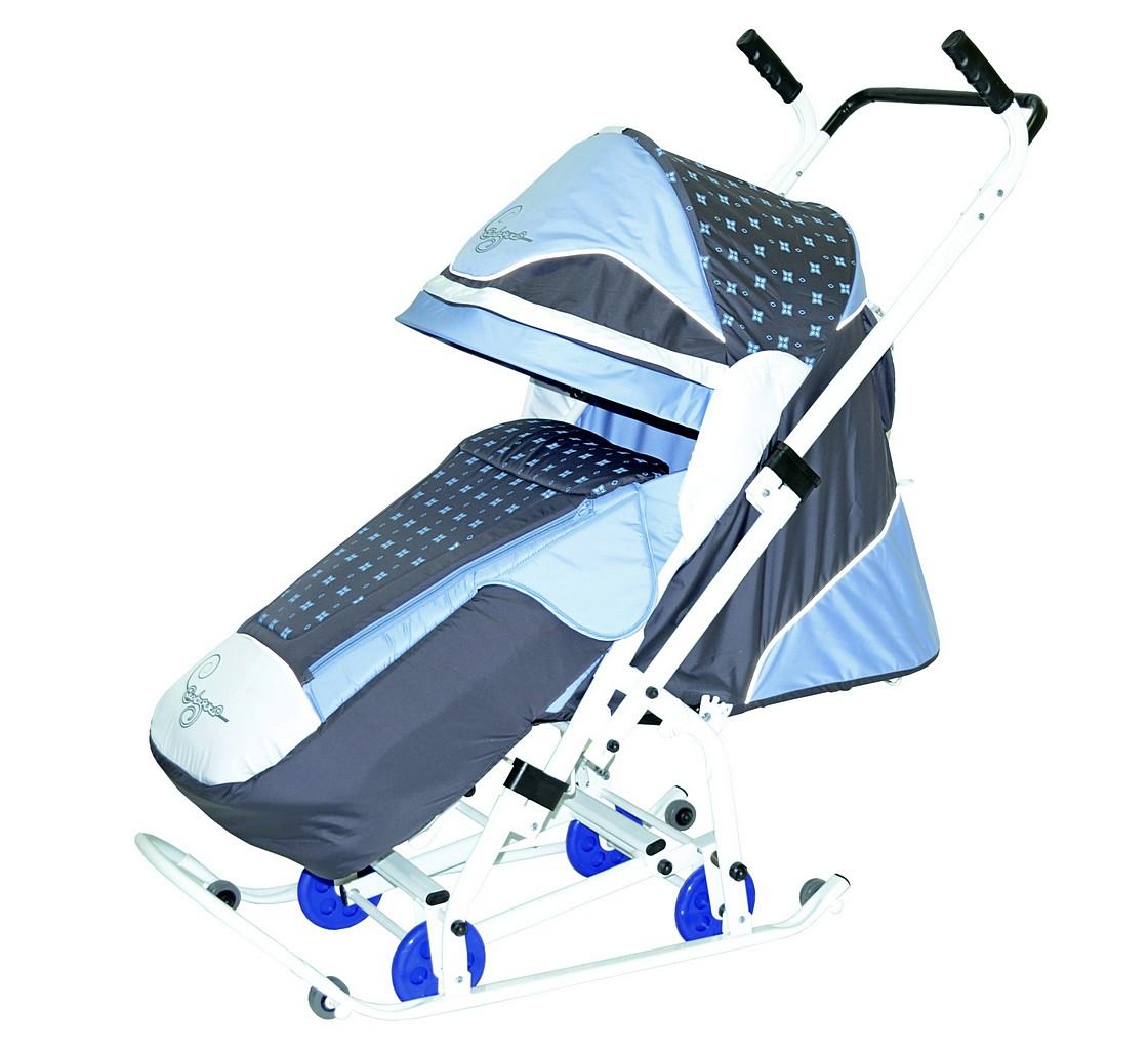 Санки-коляска Скользяшки – Мозаика, цвет серый-голубой-белыйСанки и сани-коляски<br>Санки-коляска Скользяшки – Мозаика, цвет серый-голубой-белый<br>