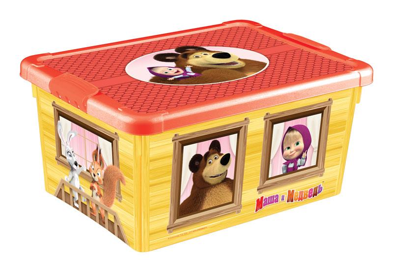 Ящик универсальный с аппликацией - Маша и Медведь, желтыйКорзины для игрушек<br>Ящик универсальный с аппликацией - Маша и Медведь, желтый<br>