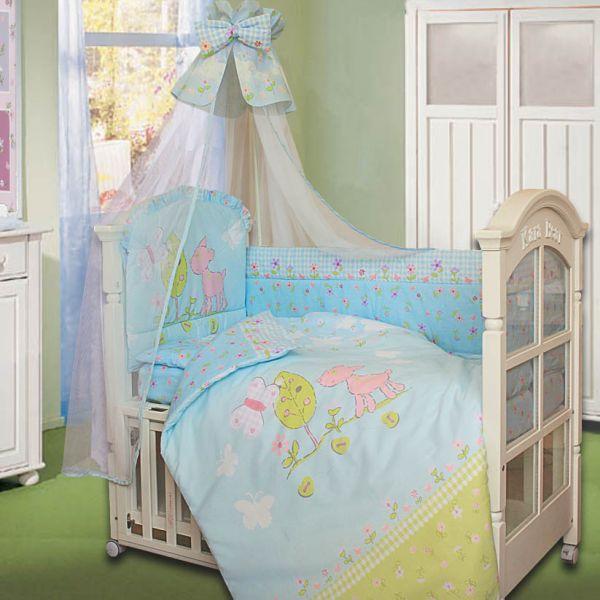 Комплект в кроватку – Little Friend, 7 предметов, голубойДетское постельное белье<br>Комплект в кроватку – Little Friend, 7 предметов, голубой<br>