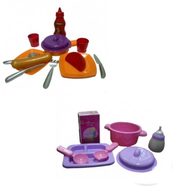 Набор посуды и продуктов для девочек, 4 видаАксессуары и техника для детской кухни<br>Набор посуды и продуктов для девочек, 4 вида<br>