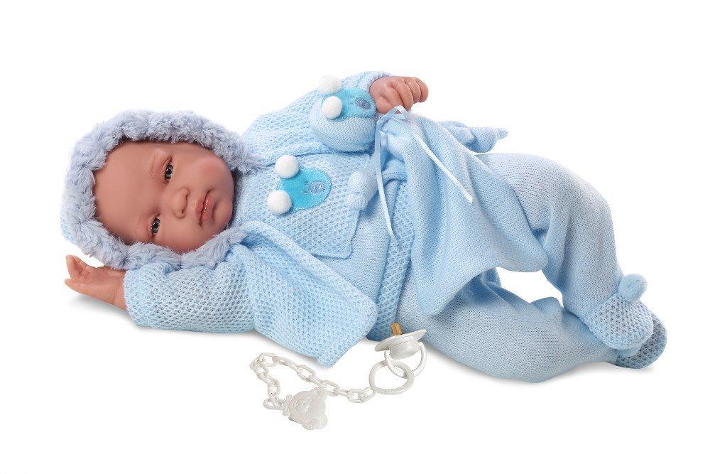 Кукла младенец в голубом костюмчике, 43 см., со звукомИспанские куклы Llorens Juan, S.L.<br>Кукла младенец в голубом костюмчике, 43 см., со звуком<br>