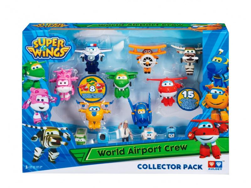 Набор Команда Аэропорта из 8 мини-трансформеров и 7 фигурокСупер Крылья (Super Wings)<br>Набор Команда Аэропорта из 8 мини-трансформеров и 7 фигурок<br>