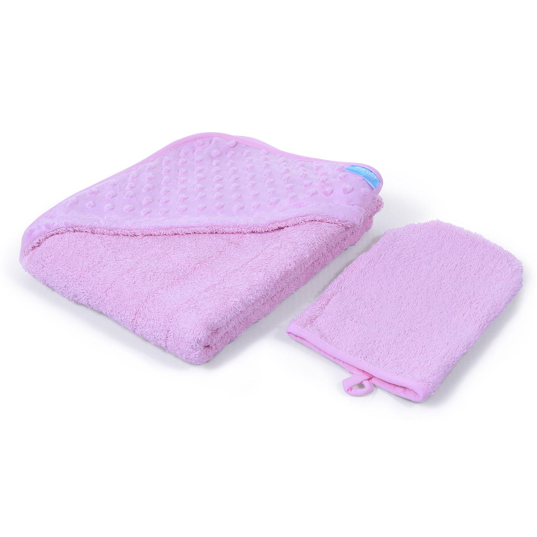 Полотенце с уголком и варежкой Nuovita Grazia 100 x 100, махра/вельбоа, цвет - розовый / rosa