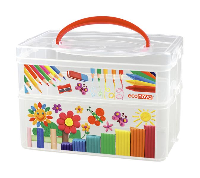 Бытпласт Коробка универсальная с ручкой и декором - ART BOX, 2 секции