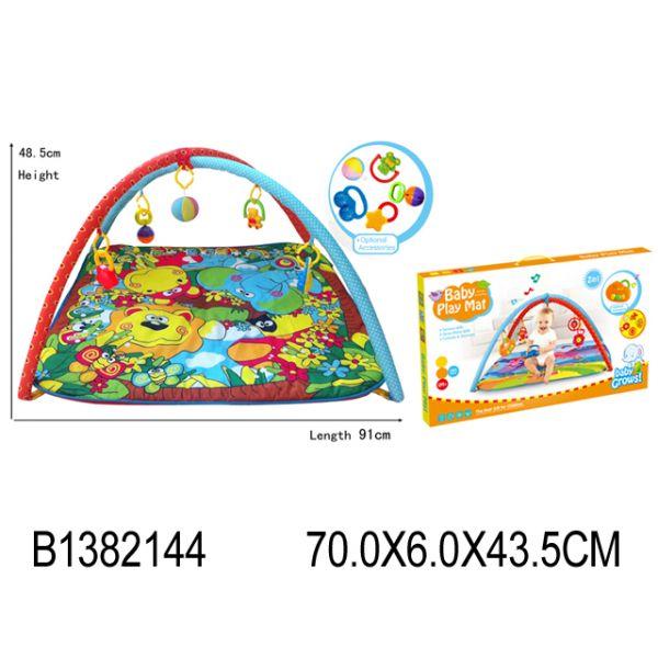 Коврик детский игровой с погремушками на подвескеДетские развивающие коврики для новорожденных<br>Коврик детский игровой с погремушками на подвеске<br>