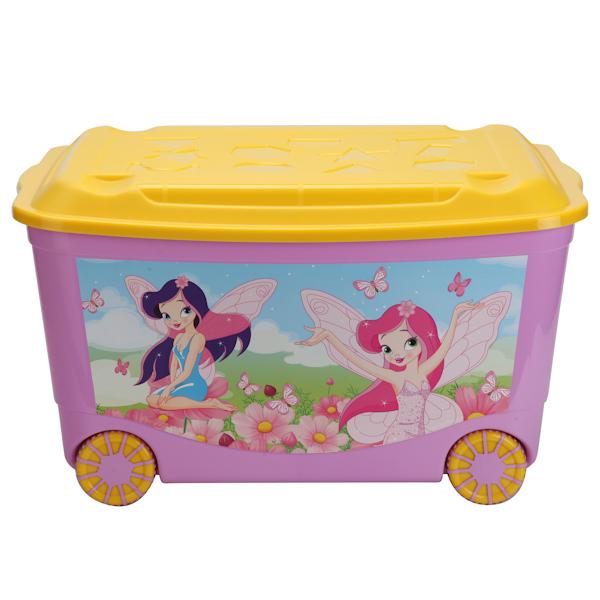 Ящик для игрушек на колесах, с аппликацией, сиреневыйКорзины для игрушек<br>Ящик для игрушек на колесах, с аппликацией, сиреневый<br>