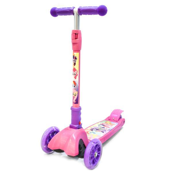 Трехколесный складной самокат – My Little Pony, светящиеся колеса 12,4 и 8 см, розовый