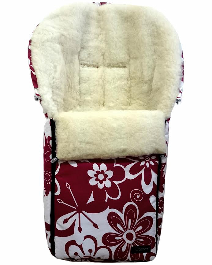 Спальный мешок в коляску №06 из серии Aurora, дизайн – цветы бело-красные - Прогулки и путешествия, артикул: 171082