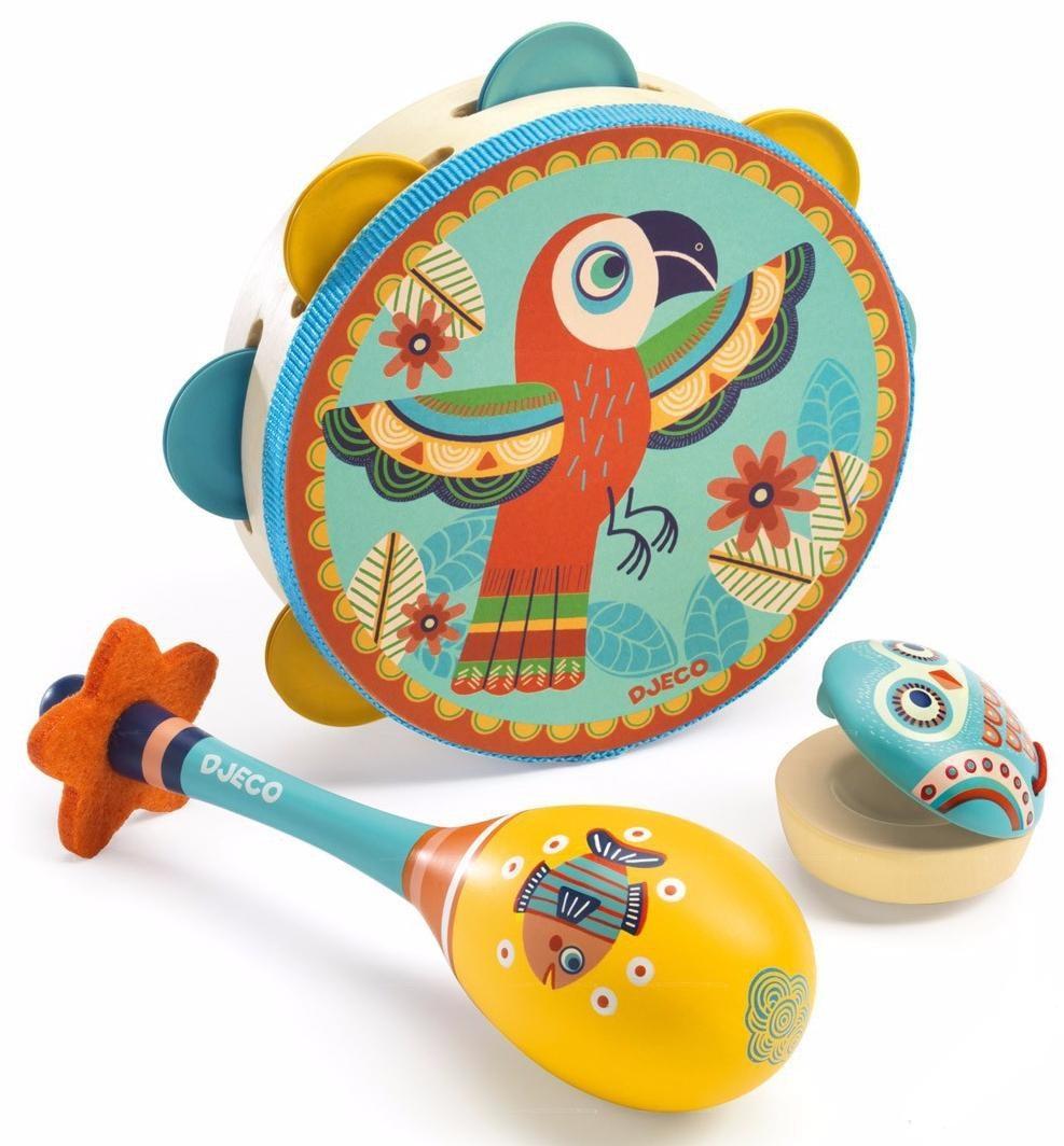 Набор музыкальных инструментов - маракас, кастаньет, бубенМузыкальные инструменты из дерева<br>Набор музыкальных инструментов - маракас, кастаньет, бубен<br>