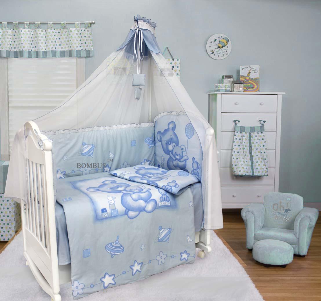 Комплект в кроватку - Топтышка, 7 предметов, голубойДетское постельное белье<br>Комплект в кроватку - Топтышка, 7 предметов, голубой<br>
