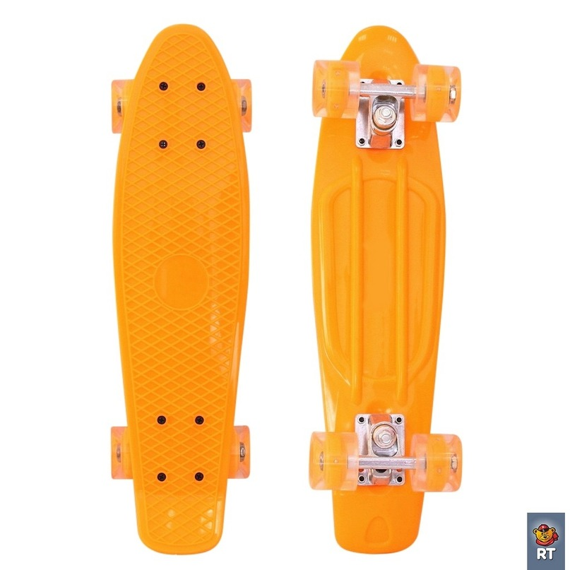 Купить 171203 Скейтборд Classic 22 YQHJ-11 со светящимися колесами, цвет оранжевый, RT