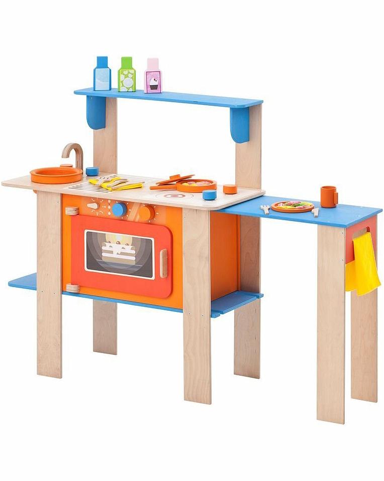 Деревянная кухня-трансформер для детей - Гавайский микс, с 16 аксессуарамиДетские игровые кухни<br>Деревянная кухня-трансформер для детей - Гавайский микс, с 16 аксессуарами<br>