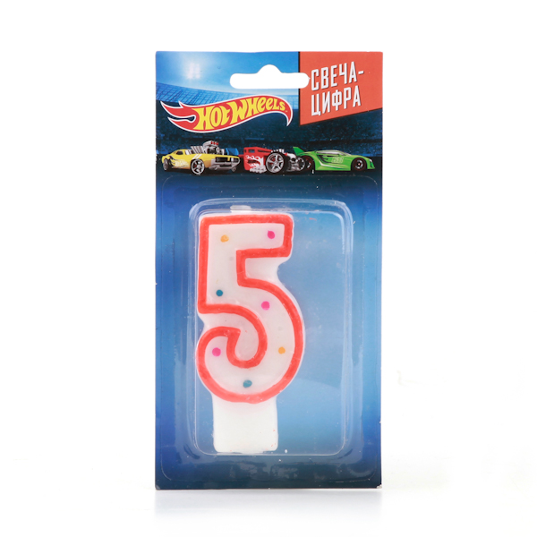 Свеча-цифра 5 серии Hot Wheels, на блистереСвечи для торта<br>Свеча-цифра 5 серии Hot Wheels, на блистере<br>