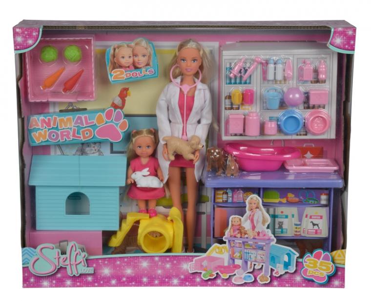 Куклы Штеффи и Еви, с набором Мир животных, 35 предметов, 29 и 12 см.Куклы Steffi (Штеффи)<br>Куклы Штеффи и Еви, с набором Мир животных, 35 предметов, 29 и 12 см.<br>