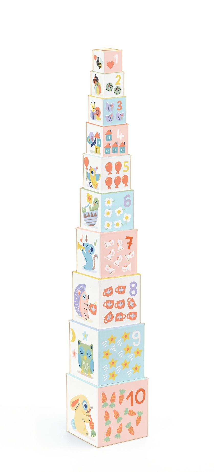 Кубики-пирамидка - Блоки, Djeco  - купить со скидкой