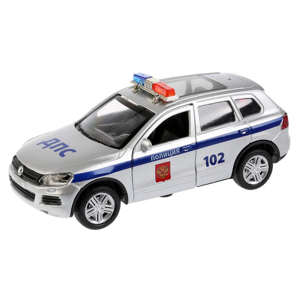 Купить Машина металлическая инерционная - VW Touareg Полиция, 12 см, свет и звук, открываются двери, Технопарк