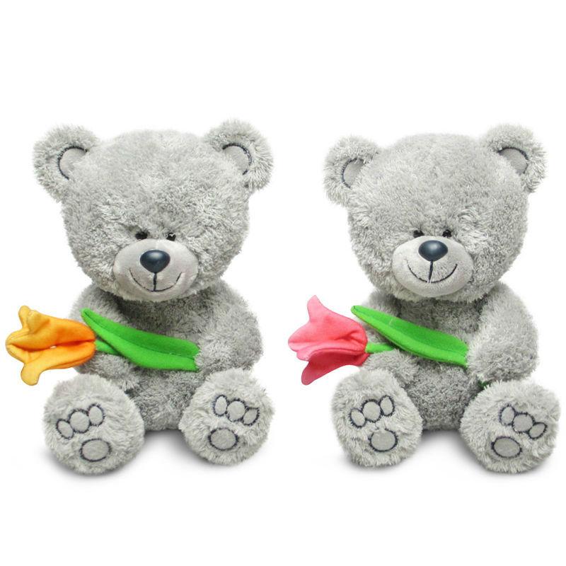 Мягкая игрушка - Медвежонок Ники с тюльпаном, музыкальный, 22 см