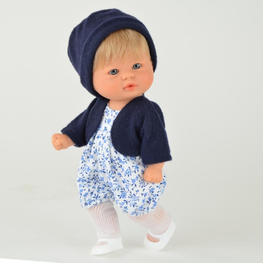 Кукла пупсик в темно-синей шапочке, 20 см.Куклы ASI (Испания)<br>Кукла пупсик в темно-синей шапочке, 20 см.<br>