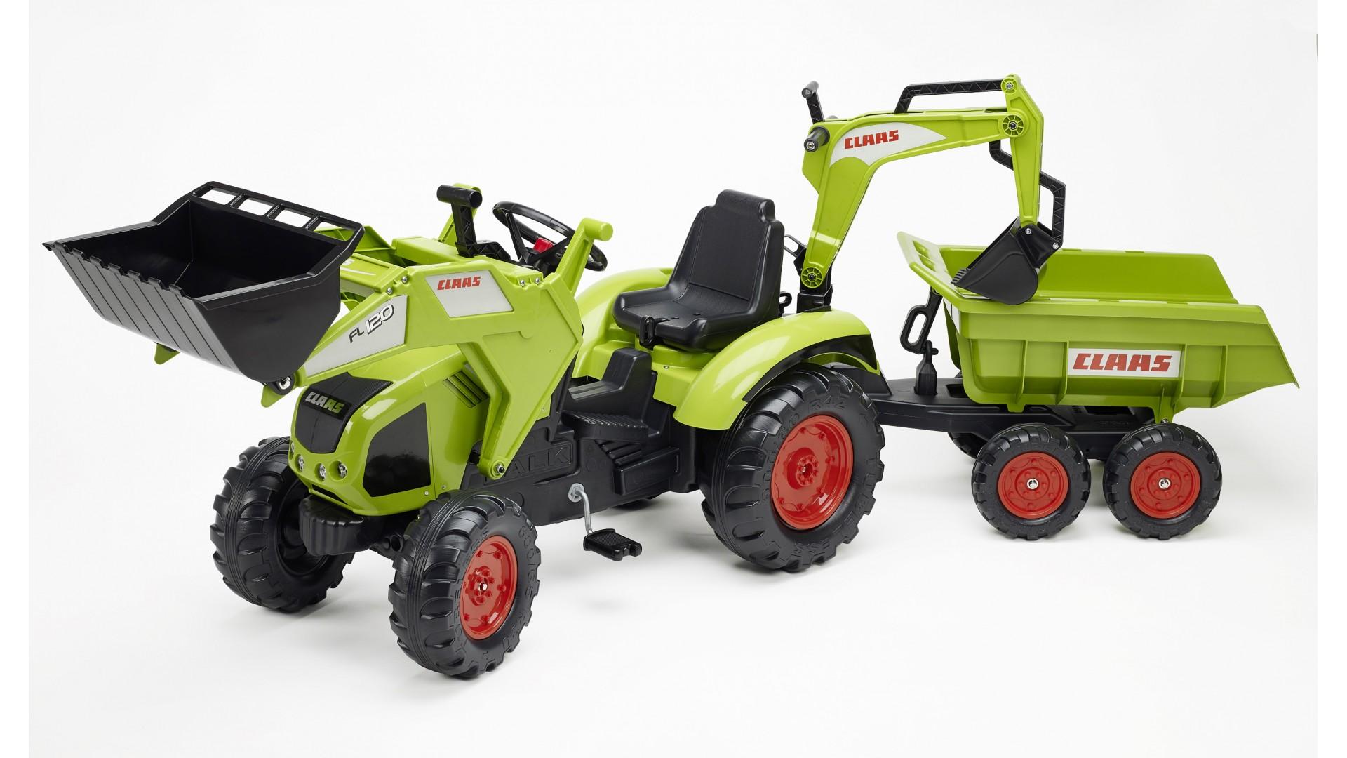 Педальный трактор-экскаватор с прицепом, черно-салатовый, 225 см - Педальные машины и трактора, артикул: 169030