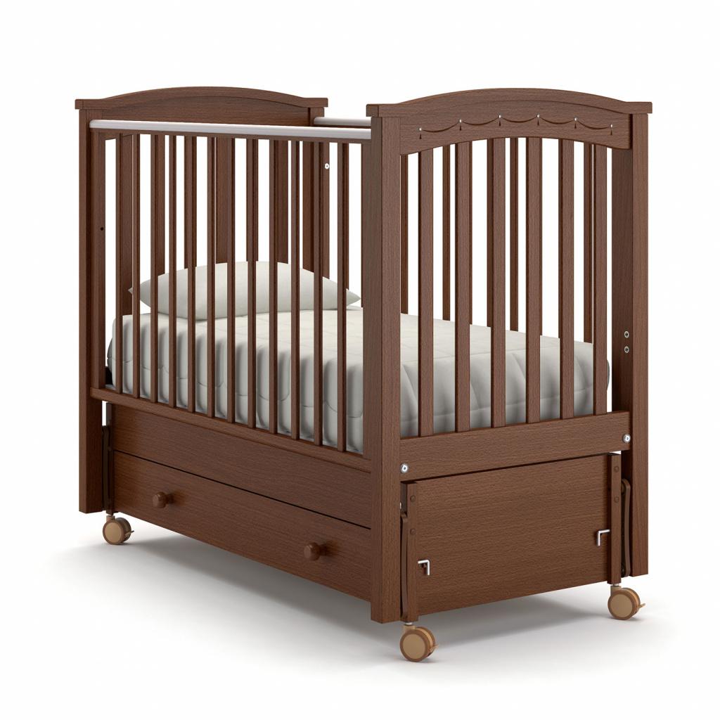 Купить Детская кровать Nuovita Perla solo swing продольный, Noce scuro/Темный орех