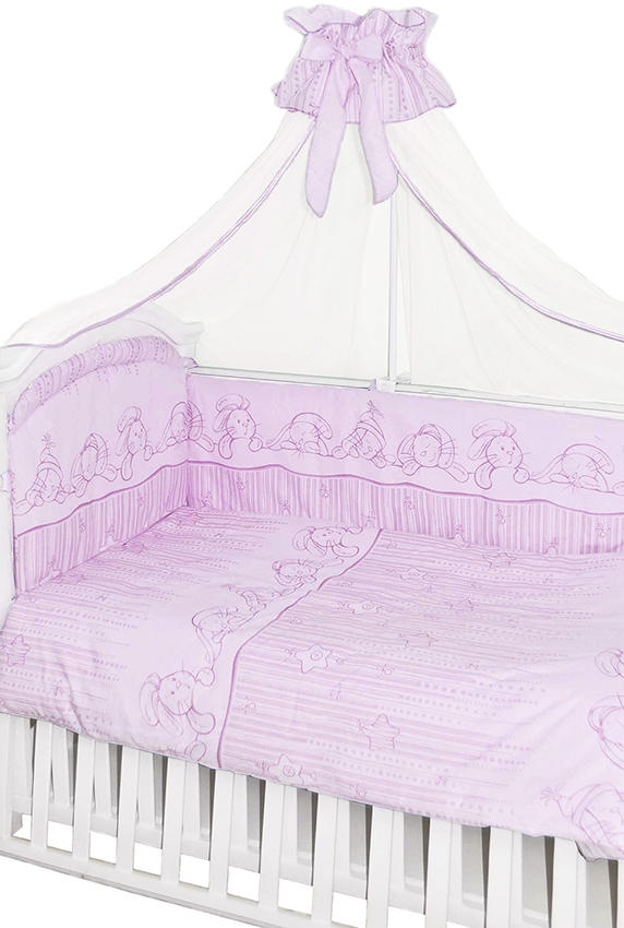 Комплект в кроватку 7 предметов - Зая-Зай, розовыйДетское постельное белье<br>Комплект в кроватку 7 предметов - Зая-Зай, розовый<br>
