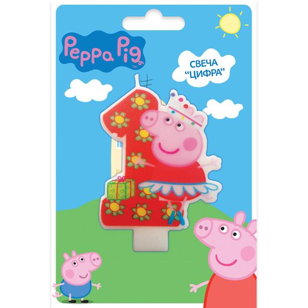 Свеча «Цифра 1» Peppa PigСвечи для торта<br>Свеча «Цифра 1» Peppa Pig<br>