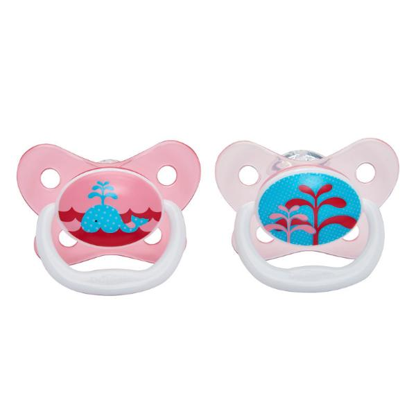 Набор из 2 пустышек PreVent Бабочка, 0-6 месяцев, с крышкой, для девочекТовары для кормления<br>Набор из 2 пустышек PreVent Бабочка, 0-6 месяцев, с крышкой, для девочек<br>